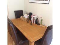 Lovely Oak Extending Table & 4 High Back Dark Brown Chairs Italian Style
