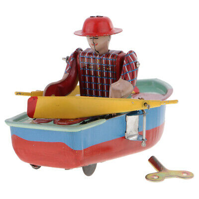 Wind-up Rowing Boat Retro Clockwork Tin Toy Collectible Gift #B