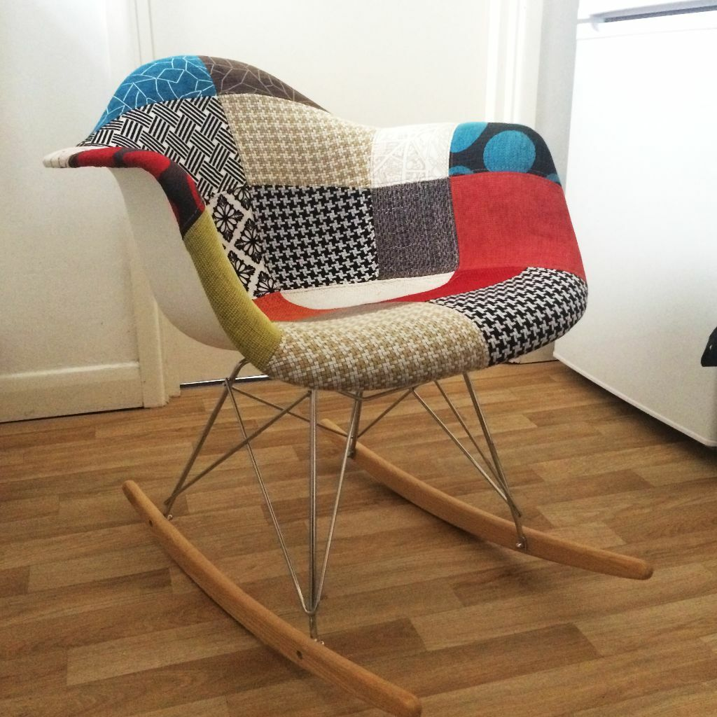 eames style rar rocker rocking chair patchwork fabric in brighton east sussex gumtree. Black Bedroom Furniture Sets. Home Design Ideas