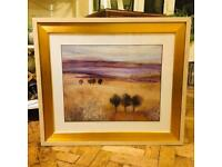 Heather scene painting in gold frame