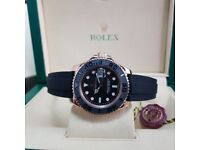 New Rose Gold Rolex Yachtmaster Everose with OysterFlex Strap Comes Rolex Boxed With Paperwork