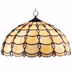 Beautiful and large Tiffany jewelled pendant ceiling light