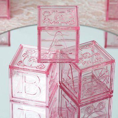 12 pcs Pink Plastic Baby Girl Shower Favors Blocks Party Decorations WHOLESALE - Party Supplies Wholesale