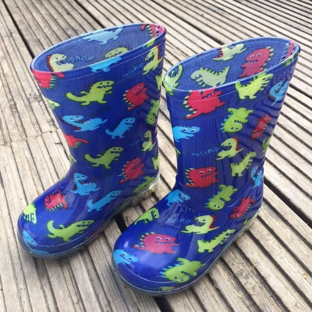 Kids | Boys Wellies | Wellington Boots | Dinosaur Pattern | Size 4