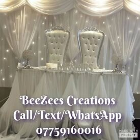 Throne Chairs/Love Lounge/Chair Covers/Table Covers/Centre Pieces/LED Dance floor Event Decor Hire!