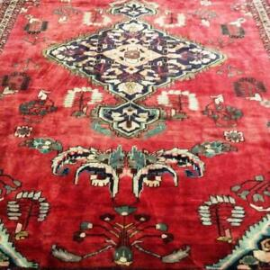 Draft Lilihan Antique Persian Rug, Handmade Carpet, Wool, Red, Green, Beige, Brown and Black Size: 10.5 X 7 ft