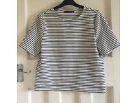 Black & White Striped Boxy T Shirt