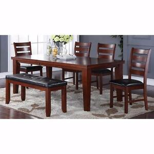HARD WOOD SOLIDS BROWN FINISH 7 Pc DINING SET