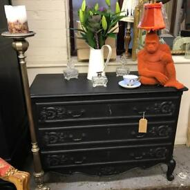 French solid oak lockable with original keys chest of drawers painted