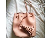Cute Pink Bucket Bag with Tassels