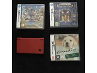 Red Nintendo DSi with 4 games