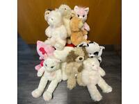Bundle of Build A Bear plush teddies - monkey, cat, lamb, dog, hello kitty