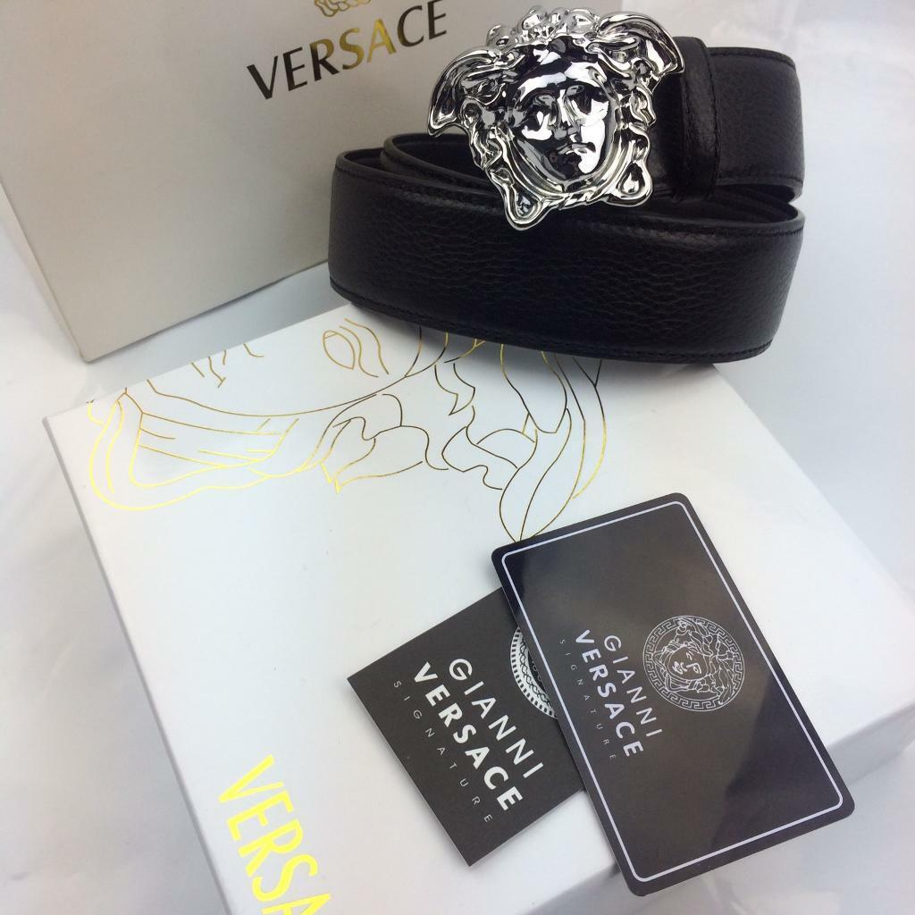 versace belt box. chrome polished medusa head black leather belt serial codes versace boxed box e