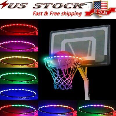 LED Light Colorful Luminous Basketball Rim Hoop Sensor-Activat Solar Strip Lamp