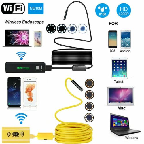 8LED Light * WIFI Endoscope Waterproof HD 1200P Borescope US