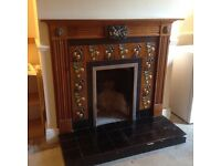 Tiled fire surround with mantle piece.