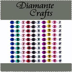 100 x 5mm Mixed Colour Diamante Self Adhesive Rhinestone Body Vajazzle Gems