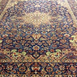 Kashan Semi-Antique Persian Rug, Handmade Carpet, Wool, Navy Blue, Light Blue, Green, brown, Orange, Burgundy and Red