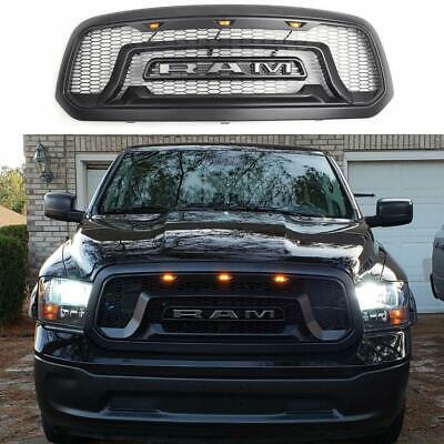 For 2013-2018 Dodge Ram 1500 Matte Black Front Bumper Grille w/LED Lights+Logo