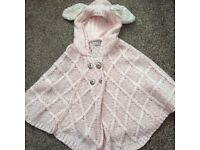 Girls pink knitted poncho