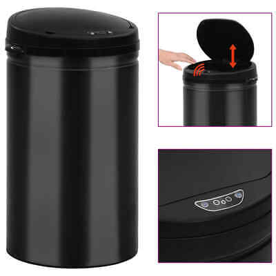 vidaXL Automatic Sensor Dustbin 40L Carbon Steel Black Kitchen Waste Dust Bin