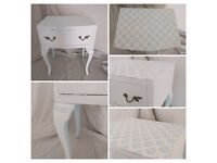 Shabby Chic Chalk White & Duck Egg Blue Bedside Cabinet with Damask detail NEW upcycled
