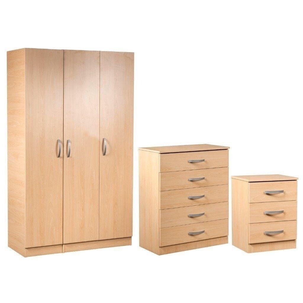 28 DAYS CASH BACK GRNTYBRAND NEW = PRE ASSEMBLED LARGE BEDROOM SET- WARDROBE-CHEST-BEDSIDE