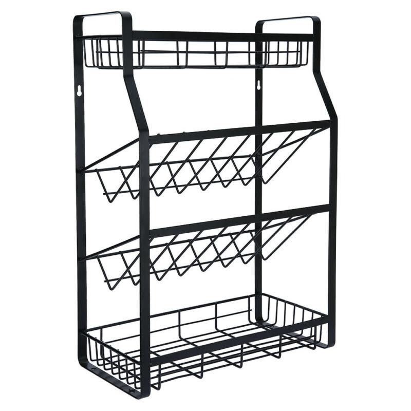 4 Tier Spice Rack Metal Countertop Kitchen Organizer Storage