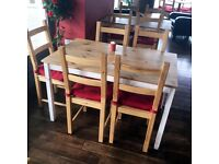Pine table and four wooden chairs reduced prices free delivery Bristol area
