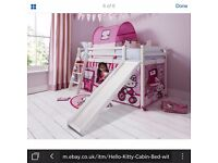 Hello Kitty White Cabin Bed with Slide Tent and Tunnel