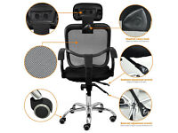 Used Office Chair, Acelectronic Office Swivel Stylish Chair Desk Chair Mesh Seat Fabric, - Black