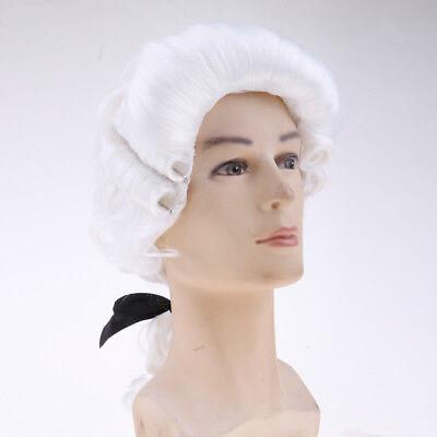 White Baroque Men's Wig Elizabethan Victorian Fancy Dress Costume - Elizabethan Dress For Men