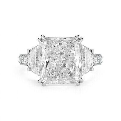 2.80 Ct Radiant Cut Diamond Half Moon Round Pave Engagement Ring H VS2 GIA 14K