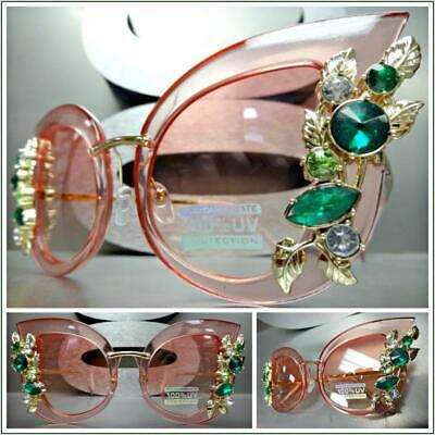 Oversized Classy Retro Cat Eye Style SUN GLASSES Large Pink Frame Bling (Pink Cat Eye Glasses)