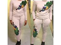 Ladies sequin designer couture tracksuit set In Black/Pink/Grey/Light Blue