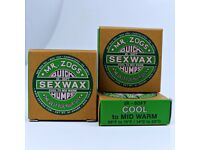 Sex Wax/Surfboard Wax: All Temperatures. Tropical, Warm, Cool, Cold and Extra-Cold. Free Delivery!