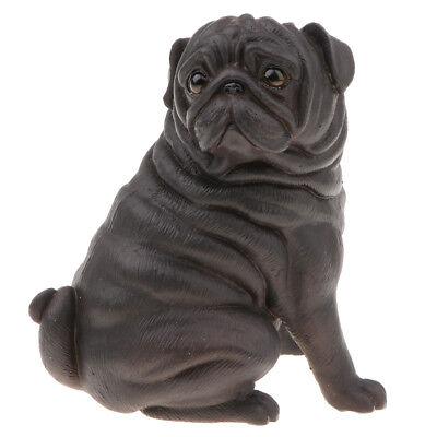 Hund Spielzeug Für Kinder (Schwarz Mops Hund Modell Figur Spielzeug für Kinder Kleinkinder Geburtstag)