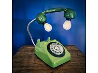 Upcycled Retro Vintage GPO Rotary Telephone Lamp Green