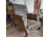 Vintage Stunning Restored Howard Style c1900 German Lounge Armchair Vegan Leather