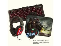 Sumvision Kane CHAOS 4 in1 LED Gaming Keyboard Mouse Headset Mat Bundle Pro Set