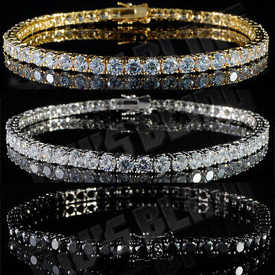 1 Row  Gold Silver Black Iced Out Tennis Bling Lab Simulated Diamond NB Bracelet