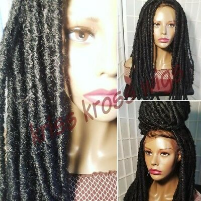 Front LACE Kinky Rasta Faux locs wig w/ bleached knots and baby hair - Rastafarian Wig