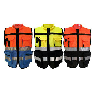 Unisex Safety Reflective Vest With Strips For Traffic Warning Construction L-xxl