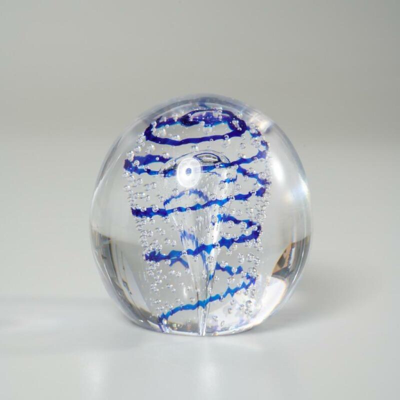 KOSTA BODA ART GLASS CONTROLLED BUBBLE & BLUE SWIRL PAPERWEIGHT SIGNED