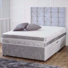 ❤❤SAME DAY CASH ON DELIVERY🔥 DOULBE/KING CRUSHED VELVET DIVAN BED w 9INCH THICK DEEP QUILT MATTRESS