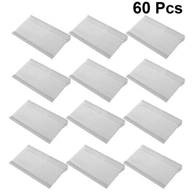 60pcs Plastic Sign Label Holder Hanging Hook Shelf Retail Price Tag Label Card