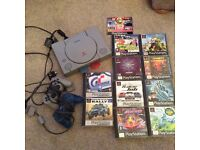 PlayStation one-PS1 with 2 controllers & 10 games