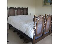 Antique Wooden and Caned Double Bedframe