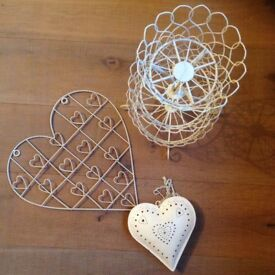 Pretty heart tealight holder, wire picture holder and wire cake stand