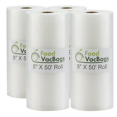 "Four 8""X50' Rolls Embossed Vacuum Sealer FoodVacBags Storage Bags- Food Saver!"
